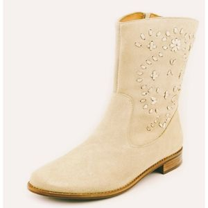 Jack Rogers Boots Western Suede Beige Size 9